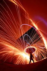 (quornflake) Tags: longexposure urban lightpainting man wool night fire weird random tunnel fisheye lighttrails trippy sparks