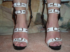 """Tightly Strapped in Her One of a Kind """"Brace Sandals"""" (KAFOmaker) Tags: sexy leather fetish spread high shoes highheels braces sandals bondage strap heels heel cuff ankle bound buckle brace straps sandal cuffs appliance buckles ankles restraints rivet bracing orthopedics whiteandblack restrain kafo restrained orthopedic cuffed strapped restraining spreader spreaders buckling braced strapping anklestrap buckled anklestraps legbrace riveted cuffing legbraces legbraced legbracing"""