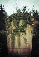Serpent (bogenfreund) Tags: grave gloomy cologne 200 gravestone serpent agfaprecisa expiredfilm nikonfa melaten digitallyedited