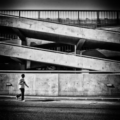 concrete lines (Thomas Leth-Olsen) Tags: bw lines concrete airport walkingguy