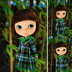 Blue Plaid Blythe Jacket (jessi.bryan) Tags: doll sewing blythe wingsinflight blythecoat blythejacket vainilladollycustom