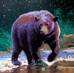 Midnight Watch (Evelyn Kirkaldy) Tags: bear flowers trees mountains art water river painting evelyn bears paintings meadow wildflowers splash eek cartoons blackbear kirkaldy kootenaymountains bearaware bearsmart evelynkirkaldy wildsmart kooenayartist
