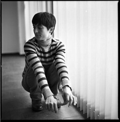 (Nieves lvarez) Tags: light portrait blackandwhite bw film window girl mediumformat blind hasselblad crease
