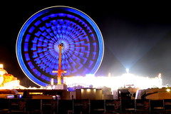 fun at the fair (redglobe*) Tags: blue light color colour bulb night germany licht roundabout carousel timeexposure lux karussell mnster carrusel lumen sendmnster