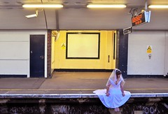 Runaway Bride (amycaek) Tags: wedding red white wet girl beautiful make up station train hair groom bride pretty tears sad veil dress crying makeup away running run stunning mascara lovely bridal runaway unhappy sobbing viel jilted jilt
