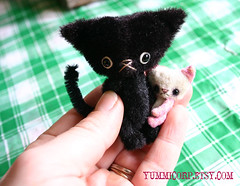 pinkcreamkitten05 (yummicorp) Tags: bear pink white black cat miniature artist teddy recycled handmade cream kitty mini softies tiny micro kitties maldenmills