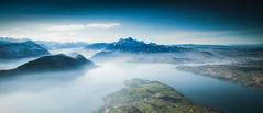 Pilatus (Thierry Hennet) Tags: blue panorama sunlight mist lake alps green zeiss landscape switzerland suisse sony luzern sunny pilatus polarizer vierwaldstaettersee a900 cz1635mmf28
