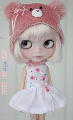 (Aya_27) Tags: pink white paris doll dress alice handsewn mywork blythe custom petite bearhat dollie scalp rbl inhand vainilladolly limitedset creayations