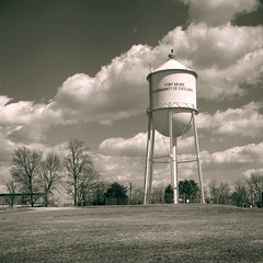 Water Tower - Revisited (Convict J-man) Tags: film photo md kodak fort scanner maryland epson 4x5 lf 12 ilford fp4 largeformat perfection busch meade xtol pressman fp4plus modeld 4990 127mm georgeg vision:clouds=0731 vision:outdoor=0965 vision:sky=0846
