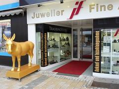 The golden ass in front of the jewelry store... (libra1054) Tags: gold sculture sculptures oro skulpturen goldenass goldesel elculodeoro lasinodioro