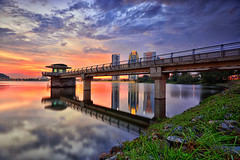 Putrajaya Dam at Sunset (fiz_zero) Tags: longexposure sunset sky reflection nature water beautiful buildings reflections landscapes nikon skies dam sigma sunsets malaysia colourful putrajaya natures sigma1020mm gnd singhray leefilter d7100 iamnikon nikond7100