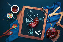 Donut study (Dina Belenko) Tags: blue food cooking coffee fun design wooden chalk graphic tea drink sweet drawing geometry chocolate napkin tasty science delicious sprinkles donut frame math learning precision homework splash scheme ruler blackboard pleasure compasses khabarovsk nutrition appetizing kithen nutritionist dietetics cartesiancoordinates