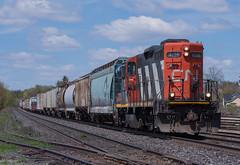 CN 4136 Doing What It Does Best (Joseph Bishop) Tags: railroad ontario cn train track tracks rail railway trains zebra railfan brantford emd 4136 gp9rm cndundassubdivision