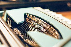 Hitting the bars (e.m.alder) Tags: blue macro film typewriter closeup analog 35mm 50mm office dof carriage mechanical asahi pentax desk kodak bokeh depthoffield corsair 1960s 135 stationery smithcorona c41 typebars gc400 pentaxp3 homedevelopment canoscan9000f