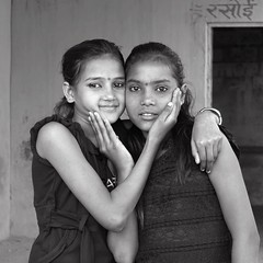 Best of Friends, Kanjar Community, Nirvanavan Foundation, Alwar, Rajasthan, India, 2016 (Halim Ina) Tags: girls india monochrome sex asian photography education photographer nirvana religion oppression prostitution human trade gender rajasthan malala caste nirvanavan kanjar