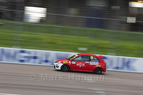 Danny Harrison in the Fiesta Junior Championship at the BRSCC Weekend at Rockingham, May 2016