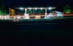 Gas light (ASHLANDJET) Tags: longexposure 120 film night oregon analog mediumformat kodak voigtlander gasstation vintagecamera 6x9 ashland portra400 bessaii vintagefolder colorskopar105mmf35