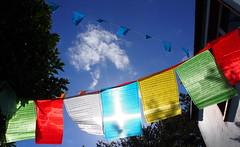 Prayer flags (OlivIreland) Tags: blue ireland sky sunshine prayer buddhism flags lookup meditation beara flickrfriday dzogchen
