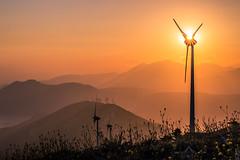 Windmills (Vagelis Pikoulas) Tags: sunset sea sun mountain mountains windmill canon landscape europe view mount greece sunburst tamron vc attica 6d 70200mm attiki vilia kithaironas kithairwnas