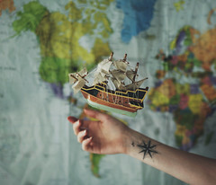 Wanderlust (KaiaPieters) Tags: travel tattoo boat flying ship hand arm map wanderlust float compass wander levitate