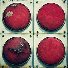 Broken, lower left. (Joseph Skompski) Tags: railroad red broken maryland baltimore bo damaged cracked reflector reflectors railroadmuseum baltimoremd borailroadmuseum borailroad