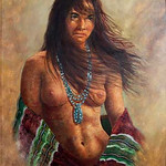 "<b>Indian Maiden Nude</b><br/> Bill Hampton (1925-1977) ""Indian Maiden Nude"" Lithograph with Hand Painting, n.d. LFAC #946<a href=""http://farm8.static.flickr.com/7067/6779927864_5744c96036_o.jpg"" title=""High res"">∝</a>"
