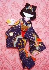 ATC914 - A little bird told me...2 (tengds) Tags: pink bird atc kimono obi darkblue papercraft japanesepaper washi ningyo handmadecard chiyogami yuzenwashi japanesepaperdoll nailsticker origamidoll tengds