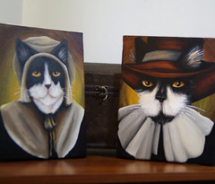 Goodwife and Goodman Cat (taraflyphotos) Tags: blackandwhite brown cat grey costume colonial gray canvas tuxedocat puritan acrylics pilgrim settler goodman orangeeyes catportrait catart catpainting catartist goodwife catinclothes tarafly