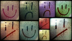 Rain Faces (_chrisUK) Tags: pink blue red orange green window water smile face rain yellow happy lumix drops sad panasonic condensation smileys smilies gf3 smilys chrisuk pixlr pixlrcom