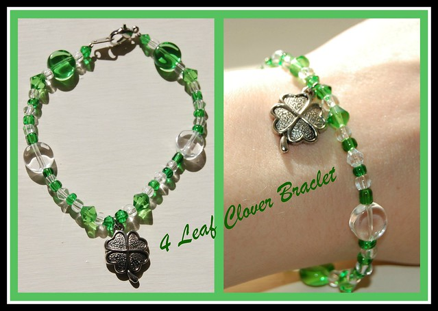 Beaded 4 Leaf Clover Braclet