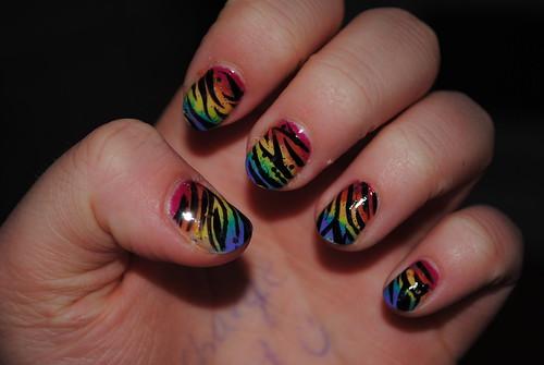 Rainbow Tiger Nails