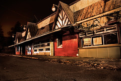 Lunch Inside - The Red Apple Rest (SunnyDazzled) Tags: longexposure family windows vacation newyork building history abandoned night 1931 restaurant condemned memories reststop landmark historic haunted spooky tuxedo roadside derelict attraction redapple southfields redapplerest lunchinside reubenfreed