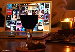 Glass of Wine ...... EXPLORE (BGDL) Tags: home glasses candle wine chocolates explore ipad macbookpro nikond7000 ourdailychallenge
