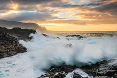 Queens Bath wallop | Kauai, Hawaii (Diego Tabango) Tags: ocean sunset usa motion water outdoors hawaii nikon bath rocks waves pacific action diego queens kauai hi nikkor filters swells princeville 1735mm d300 tabango