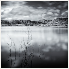 My Morning Coffee (d.norwood) Tags: ca bridge bw white lake black mountains water clouds silver sticks sandiego socal escondido hodges nd110