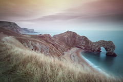 Durdle Door, Dorset, UK (Richard:Fraser) Tags: uk longexposure sunset sea england grass coast rocks dorset density neutral durdledoor landscapephotography 10stopnd richardfraserphotographycanon