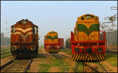 Shakurbasti Shunting Fleet (Ankit Bharaj) Tags: new morning india yard sunrise canon photography early is diesel delhi indian rail locomotive 100 railways freight ankit sx ssb kte marshalling alco railfanning irfca katni bharaj wds6 wdg3a shakurbasti