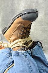 DSC_0190 (jakewolf21) Tags: work boots bondage rope jeans tied dakota hogtied