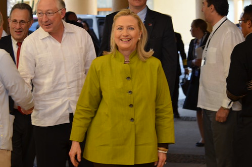 Hillary Clinton and Ken Salazar at Signing Ceremony for U.S.-Mexico Tran
