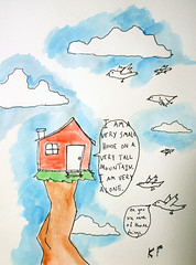 But what do birds know? (Kevin Franz and The Monster Party) Tags: door people house man guy window birds illustration pencil ink watercolor drawing shack sharpie talking