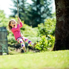 Swing in Pink (PMMPhoto) Tags: uk pink childhood garden fun joy free happiness rope swing care carefree