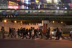 (quashlo) Tags: train tokyo shinjuku neon metro overpass  intersection crosswalk   yamanoteline rapidtransit   jreast  tokyoprefecture  jr    eastjapanrailwaycompany jr shinjukuward