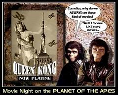 MOVIE NIGHT ON THE PLANET OF APES (DarkJediKnight) Tags: one 1 king humor queen kong raquelwelch planetoftheapes parody spoof cornelius zira roddymcdowell kimhunter millionyears