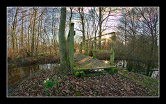 Old bridge (SFB579 Namaste) Tags: bridge trees sunset sun lake nature water bench spring pond seasons pentax bare seat yorkshire fisheye naturereserve daffodil wakefield hdr outwood