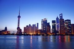 Pudong (Gatan Bruneteau) Tags: china summer sky reflection skyline sunrise buildings nikon asia shanghai towers earlymorning   pudong skycrapers jinmaotower huangpu orientalpearltower      worldfinancetower