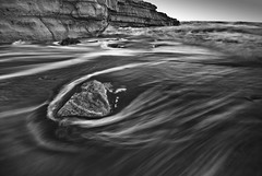 Cardiff Beach B&W2 (Walter B) Tags: ocean california longexposure travel sunset reflection landscape nikon rocks waves pacific sandiego d40x coastalphotography