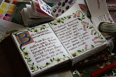 Illuminated Manuscript - B for Belladonna (noriko.stardust) Tags: b plant art nature painting notebook gold leaf drawing fine journal picture blogger illuminated study page watercolour medicine alphabet calligraphy caligraphy manuscript copy herb herbal belladonna remedy homeopathic homeopathy solanaceae indications atropa symptom toxicology notebookism