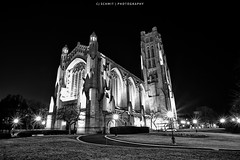 Rockefeller Chapel - B&W (CJ Schmit) Tags: longexposure blackandwhite bw usa chicago monochrome night canon dark illinois lowlight unitedstates hydepark rockefellerchapel univeristyofchicago canonef1740mmf40lusm 5dmarkii canon5dmarkii cjschmit wwwcjschmitcom niksilverefexpro2 outofchicago cjschmitphotography tpablackwhite