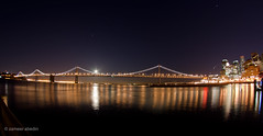 Moon on the Bay (startwithz) Tags: sf sanfrancisco california city longexposure bridge moon reflection cali night lights oakland bay nikon san francisco artistic fisheye moonrise baybridge 8mm thebay oaklandbaybridge rokinon d7000