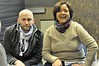 (Photo by Bob Studzinski) Tony Nelson and Luz Rivera-Martinez share with Columbus Activists ideas on Global Justice Movement
